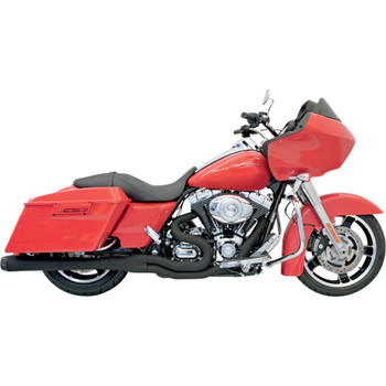 Bassani Black B4 2-into-1 Exhaust System for 1995-2016 Harley Touring - Megaphone Muffler - Black