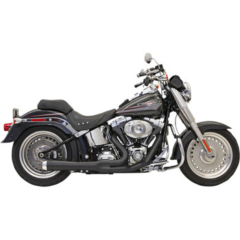Bassani Black Short Road Rage 2-into-1 Exhaust System for 1986-2017 Harley Softail - Black