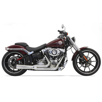 Bassani Short Road Rage 2-1 High Performance Exhaust System for 2013-2017 Harley Breakout/Rocker - Chrome