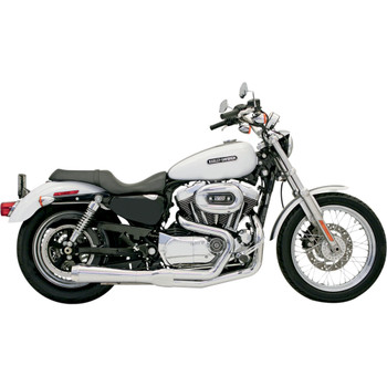 Bassani Short Upswept Road Rage 2-into-1 Exhaust System for 2004-2013 Harley Sportster - Chrome