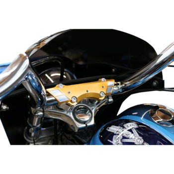 Paul Yaffe Bagger Nation Weld Wing Super Handlebar Top Clamp for Harley - Gold