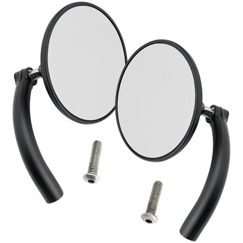 Biltwell Utility Mirrors Round Perch Mount - Black Pair