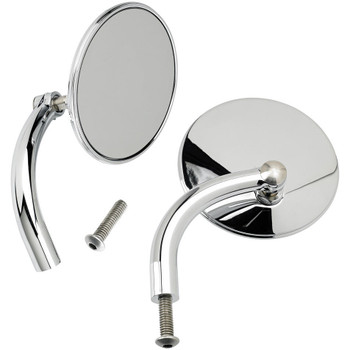 Biltwell Utility Mirrors Round Perch Mount - Chrome Pair