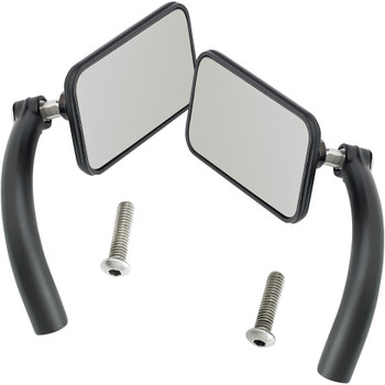 Biltwell Utility Mirrors Rectangle Perch Mount - Black Pair