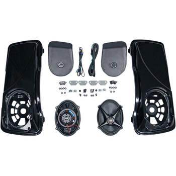 J & M Saddlebag Lid Kit with Rokker XXR Speakers for 1998-2013 Harley Touring
