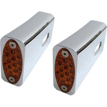 Pro-One Amber LED Fender Strut LED Marker Lights for 1984-2017 Harley Softail - Chrome