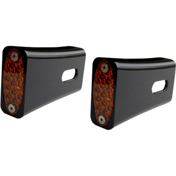 Pro-One Red LED Fender Strut LED Marker Lights for Harley - Black