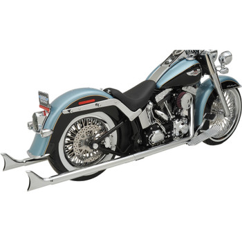 "Bassani Chrome 36"" True Duals Exhaust with 2.25"" Fishtail Mufflers for 2007-2017 Harley Softail - No Baffles"