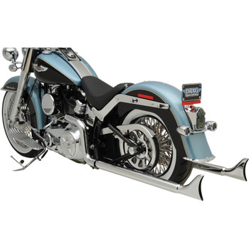 """Bassani Chrome 36"""" True Duals Exhaust with 2.25"""" Fishtail Mufflers for 2007-2017 Harley Softail - No Baffles"""
