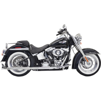 """Bassani Chrome 30"""" True Duals Exhaust with 2.25"""" Fishtail Mufflers for 2007-2017 Harley Softail - Baffled"""
