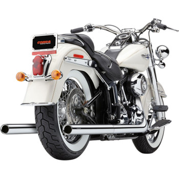 Cobra Chrome Dual Exhaust System with Billet Tips for 2007-2011 Harley Softail