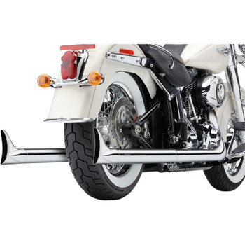 Cobra Chrome Dual Exhaust System with Fishtail Tips for 2007-2011 Harley Softail