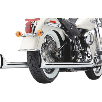 Cobra Chrome Dual Exhaust System with Fishtail Tips for 1997-2006 Harley Softail