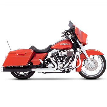 """Rinehart 4"""" Slip-On Exhaust Mufflers for 1995-2016 Harley Touring - Black with Chrome Tips"""