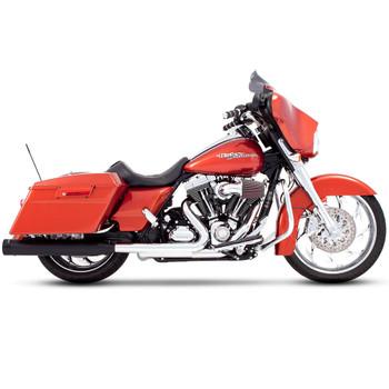 """Rinehart 4"""" Slip-On Exhaust Mufflers for 1995-2016 Harley Touring - Black with Black Tips"""