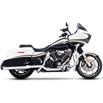 "Rinehart 4"" Xtreme True Dual Exhaust for 2009-2016 Harley Touring - Chrome with Black Tips"