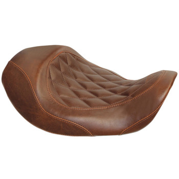 Mustang Wide Tripper Forward Solo Seat for 2006-2017 Harley Dyna - Brown Diamond Stitch