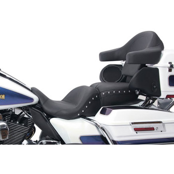 Mustang Lowdown Touring Seat for 2008-2018 Harley Touring - Chrome Studded