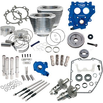 "S&S 100"" Power Package Kit Gear Drive for 1999-2006 Harley Twin Cam - Silver"