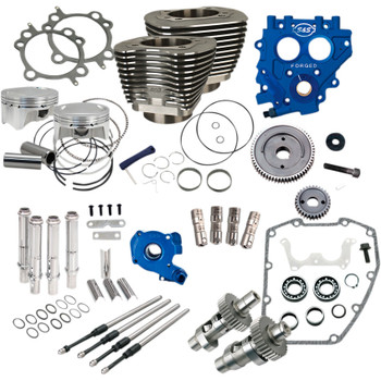 """S&S 100"""" Power Package Kit Gear Drive for 1999-2006 Harley Twin Cam - Black"""