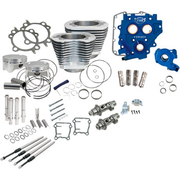 "S&S 110"" Power Package Kit Chain Drive for 2000-2017 Harley Twin Cam - Silver"