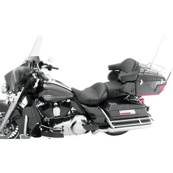 Mustang Super Touring Seat for 2008-2018 Harley Touring - Chrome Studded