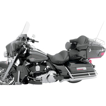 Mustang Super Touring Seat w/ Driver Backrest for 2008-2018 Harley Touring - Chrome Studded