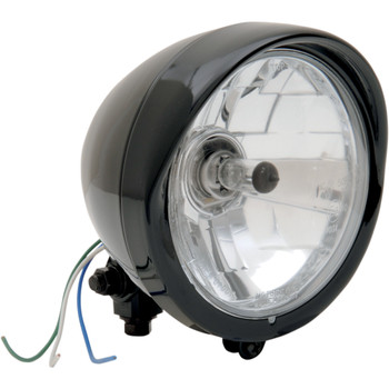 Drag Specialties Black Diamond-Style Bottom-Mount Headlight Assembly With Visor