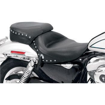 Mustang Wide Touring Solo Seat for 2004-2018 Harley Sportster - Chrome Studded
