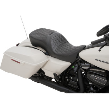 Drag Specialties Large Touring Seat That Accepts Frame Mounted Backrest for 2009-2020 Harley Touring - Double Diamond Stitch