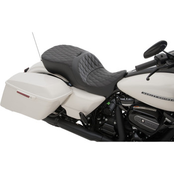 Drag Specialties Forward Positioning Large Touring Seat That Accepts Frame Mounted Backrest for 2009-2018 Harley Touring - Double Diamond Stitch