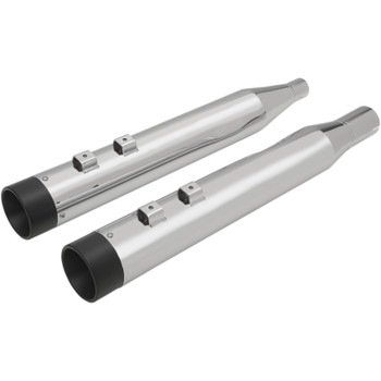 """Drag Specialties 4"""" Slip-On Mufflers with Billet Caps for 2017-2018 Harley Touring - Chrome with Black Caps"""