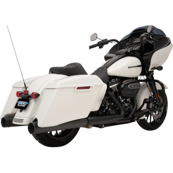 """Drag Specialties 4"""" Slip-On Mufflers with Billet Caps for 2017-2018 Harley Touring - Black with Black Caps"""