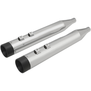 """Drag Specialties 4"""" Slip-On Mufflers with Billet Caps for 1995-2016 Harley Touring - Chrome with Black Caps"""