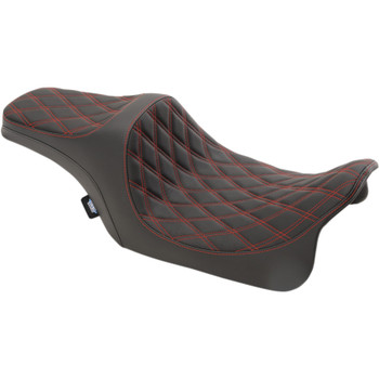 Drag Specialties Predator III Seat for 2008-2020 Harley Touring - Double Diamond Red