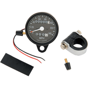 """Drag Specialties 2.4"""" Mini 2:1 Ratio Mechanical 140MPH Speedometer with Black Face and Tripmeter - Black"""