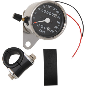 """Drag Specialties 2.4"""" Mini 2:1 Ratio Mechanical 220KMH Speedometer with Black Face and Tripmeter - Chrome"""