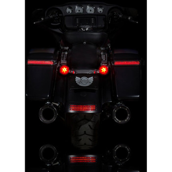 Custom Dynamics Probeam Red Ring 1157 LED Turn Signal Inserts with Red Lens for Harley