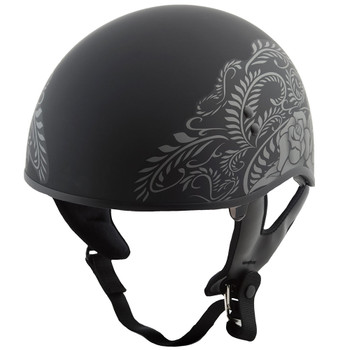 GMAX GM65 Rose Naked Half Helmet - Flat Black/Silver