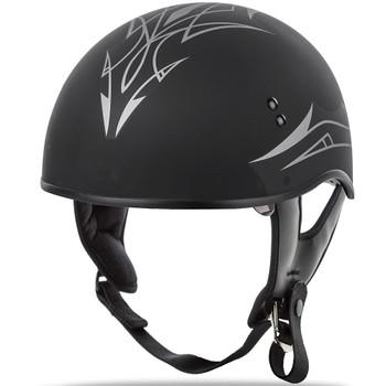 GMAX GM65 Pin Naked Half Helmet - Flat Black/Silver