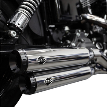 S&S Grand National Slip-On Mufflers for 2008-2017 Harley Fat Bob and Wide Glide - Chrome