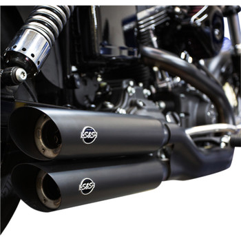 S&S Slash Cut Slip-On Mufflers for 2008-2017 Harley Fat Bob and Wide Glide - Black