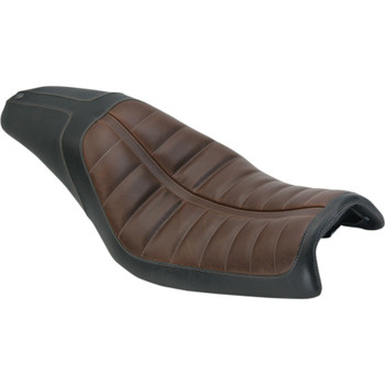 Roland Sands Enzo 2-Up Seat for 2006-2017 Harley Dyna - Brown