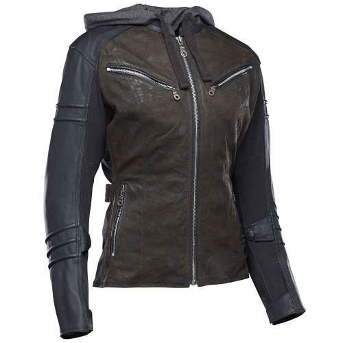 Speed and Strength Street Savvy Women's Leather/Textile Jacket - Olive/Black