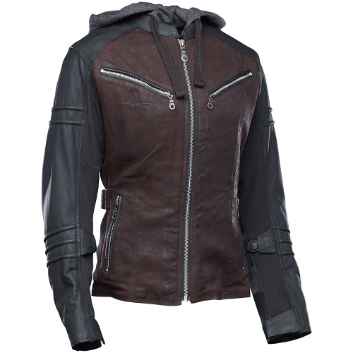 Speed and Strength Street Savvy Women's Leather/Textile Jacket - Oxblood/Black