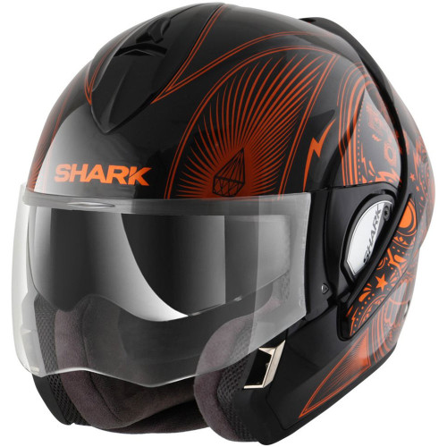 Shark Evoline 3 Mezcal Modular Helmet - Black/Chrome/Orange