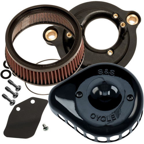S&S Mini Teardrop Stealth Air Cleaner Kit for 2017-2018 Harley Milwaukee Eight - Black