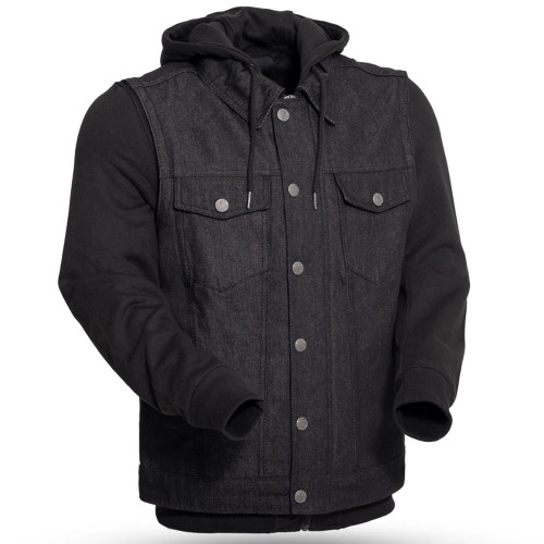 First Mfg. Rook Denim Vest w/ Black Hoody