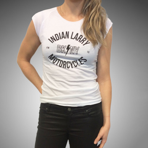Indian Larry Ladies BK/NY Cap Sleeve - White