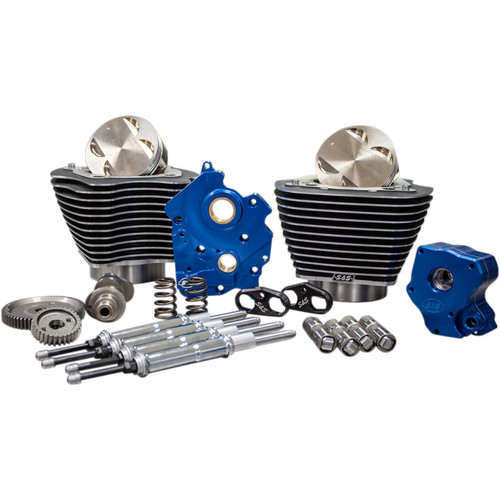"""S&S 124"""" Power Package Kit Gear Drive Water Cooled for 107"""" Harley M8 - Highlighted Fins and Chrome Pushrod Tubes"""